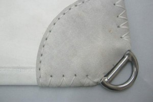 leather chaff patch cover the clew webbing